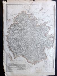 Weekly Dispatch C1860 Antique Map. Herefordshire, UK